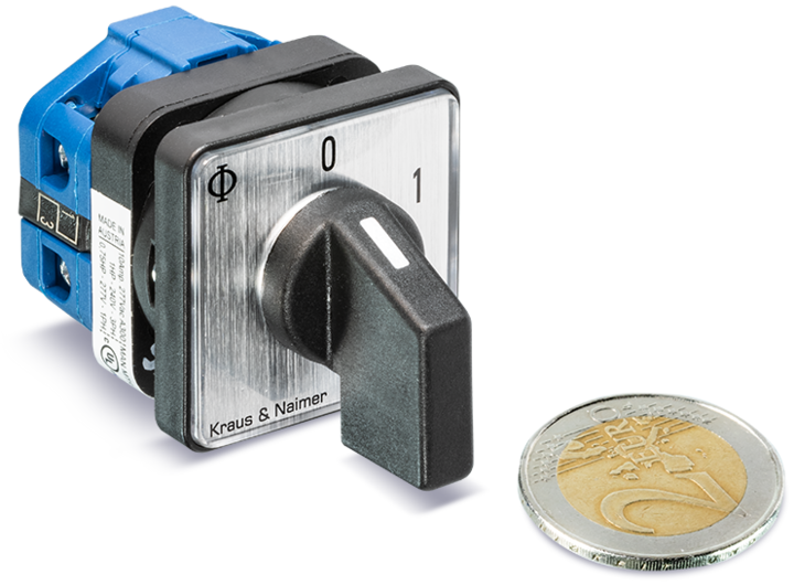 CA4N, THE SMALLEST CAM SWITCH IN THE WORLD, the SMALLEST CAM SWITCH compared with a 2 euro coin (Kraus and Naimer, K&N)