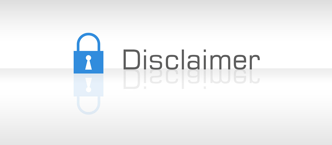 Disclaimer, blue Lock icon (grey white background, reflecting)
