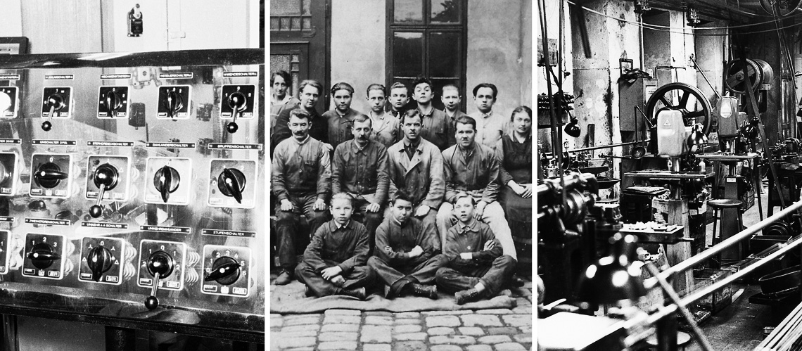 picture series (control desk with Kraus and Naimer switches, historical group photo of Kraus and Naimer factory workers, old Kraus and Naimer production facility) (K&N, Schumanngasse, 1180 Wien)