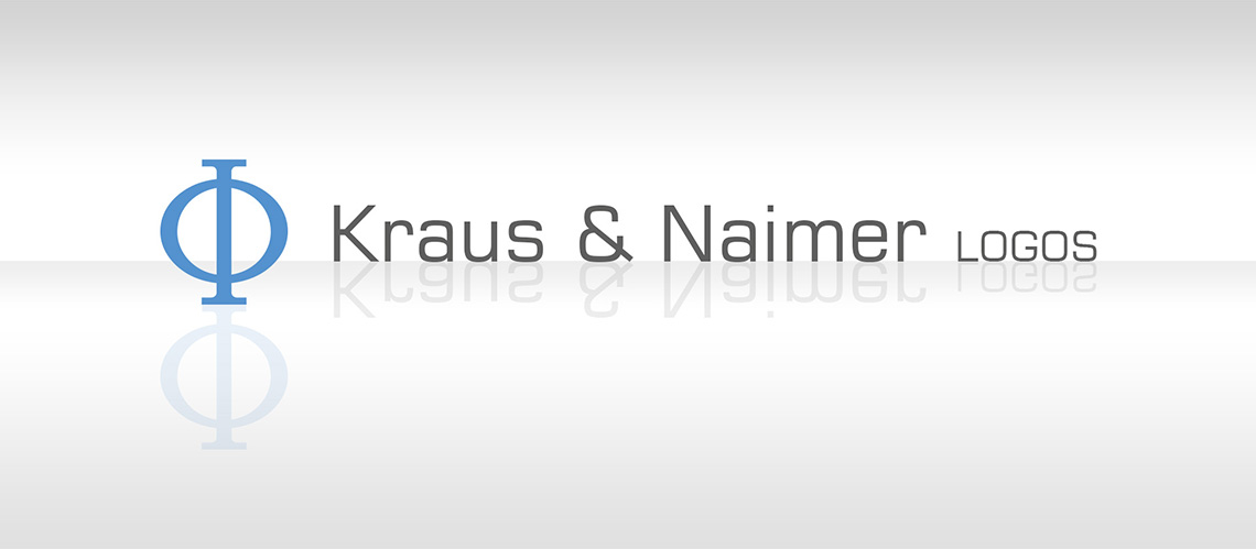 Kraus and Naimer Logo (grey white background, reflecting, Phi, K&N)