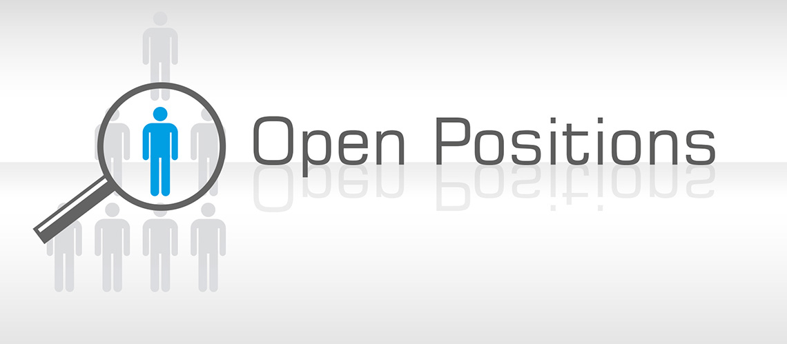 "person icon, magnifying glass,  group of seven grey and one blue person icon, a magnifying glass is infront of the blue person icon, reflectig font saying ""Open Positions"", white grey background"