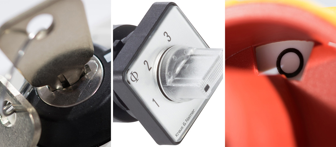 Picture series of three pictures (close up picture of a key operator,  switch with a indicator handle, close up of a mainswitch in zero position)(header picture, Kraus an Naimer, K&N)
