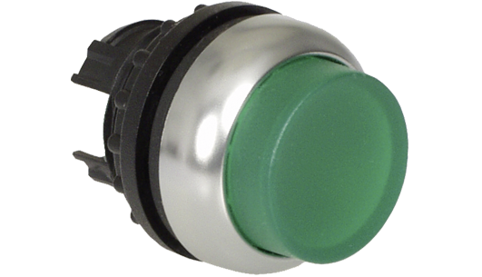 green industrial Push Button with Pilot Light (Solid pilot light, Kraus and Naimer, K&N)