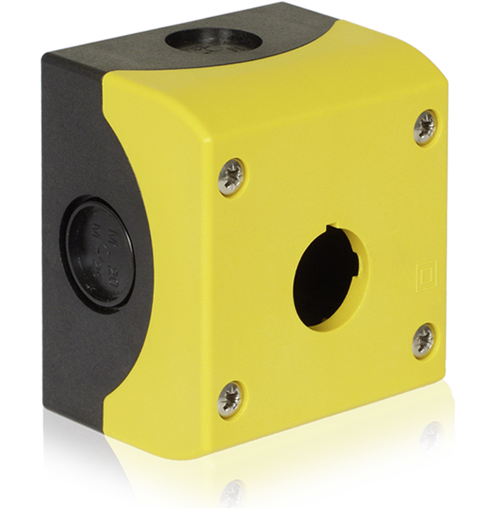 yellow industrial plastic Enclosure for switches (Kraus and Naimer, K&N)