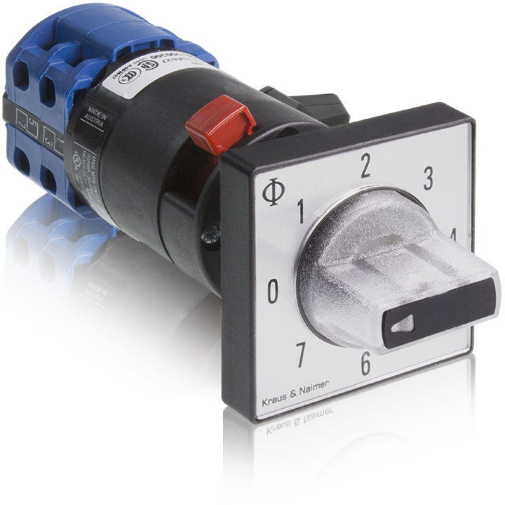 Q120 switch, illuminating handle, optional Extra, BA9 socket, 360° switching angle (Kraus and Naimer, K&N)